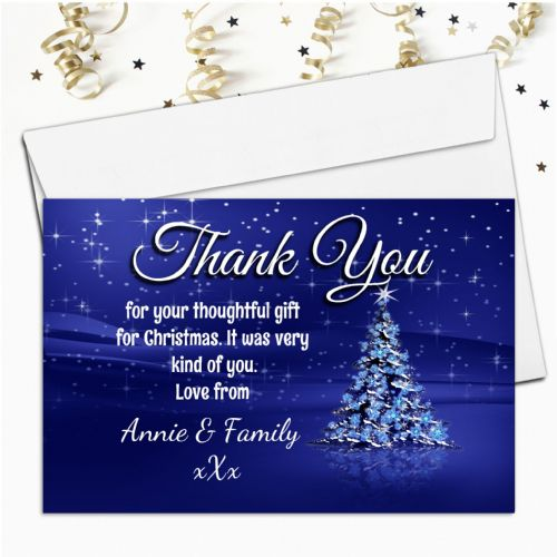 10 Personalised Blue Sparkle Christmas Xmas Tree Thank you Cards N20